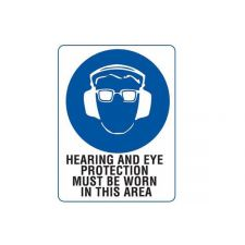 Sign - Hearing & Eye Protection 300x225mm Poly